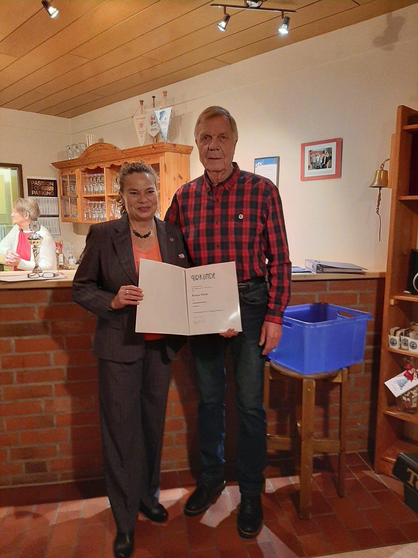 Verdienstnadel des Landessportverband SH für Klaus Hüve